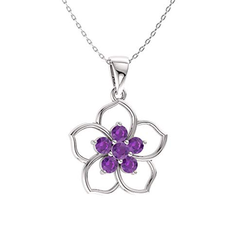 Diamondere Natural and Certified Amethyst Flower Necklace in 14k White Gold | 0.21 Carat Pendant with ()