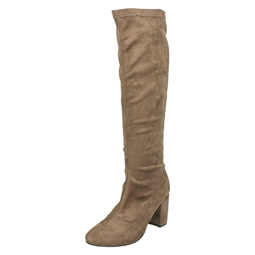 Ladies Anne Michelle Knee High Boots Style - F50680 Taupe Microfibre