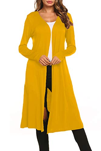 - BLUETIME Women Solid Basic Long Sleeve Open Front Long Maxi Cardigan Lightweight Long Duster (XXL, Mustard)