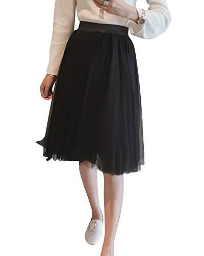Taille Lache Jupe Mode Yonglan La Femme Jupe Haute Jupe Midi Plisse Taille Noir Filet lastique twq0av