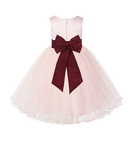 Blush Pink Tulle Rattail Edge Junior Flower Girl Dress Christening Dress 829T 10 (Designer Christening Gowns)