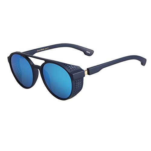Vintage Round Steampunk Sunglasses with Side Shields Gothic Sunglasses for Men Women UV400 Protection - Blue Mirror