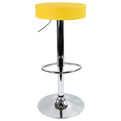 KKTONER Round Bar Stool PU Leather with Footrest Height Adjustable Swivel Pub Chair Home Kitchen Bar stools Backless…
