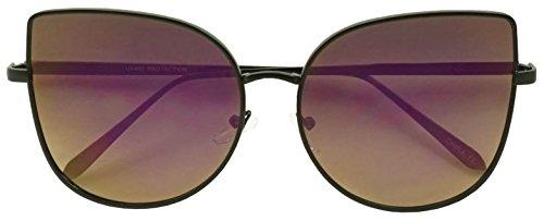 XL Oversized Oceanic Two Tone Gradient Flat Lens Gold Metal Frame Cat Eye Sunglasses (Black, - Sunglasses Size Eye