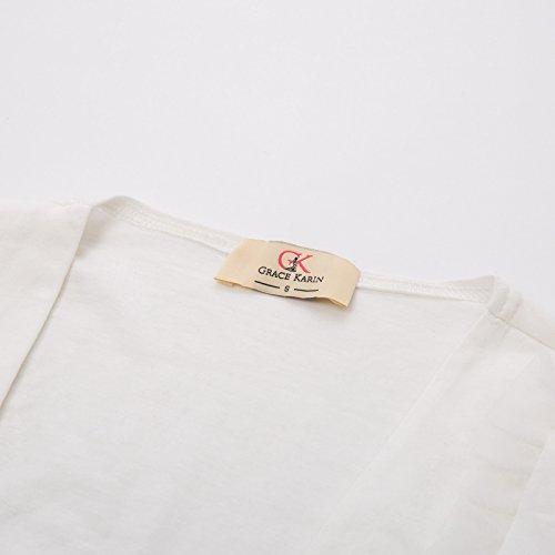 3 KARIN Hem Bolero Sleeve Women's Cardigan Ruffled 4 Ivory Shrug GRACE fSwEWqqR
