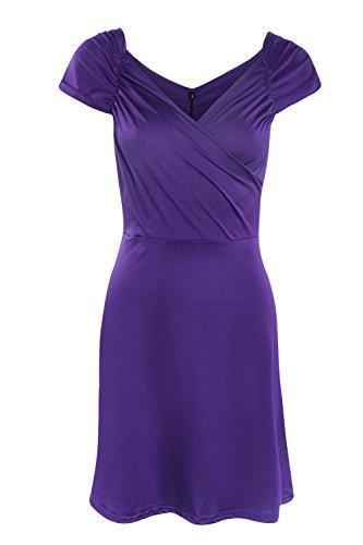 La Mujer Sin Mangas Con Cuello En V Mini Vestido De Coctel De Verano Purple