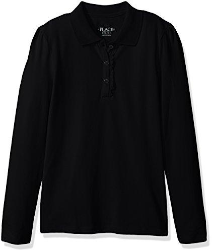 (The Children's Place Big Girls' Uniform Long Sleeve Polo, Black - Ruffle 44389, XXL(16))