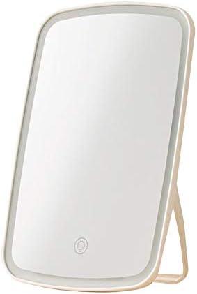 ポータブル化粧鏡卓上折りたたみミラー付きLED照明ランプドミトリーベッドメイクアップミラーシェービング用ミラー