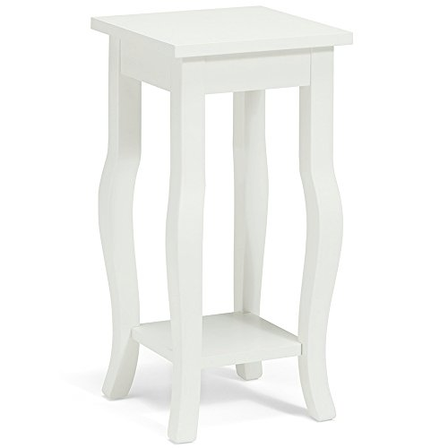 Amazon Com Small Tall Accent Table With Shelf And Wood