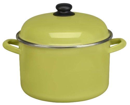 Cinsa 312043 Trend Ware Enamel on Steel Stock Pot with Lid, 7-Quart, Green Tea