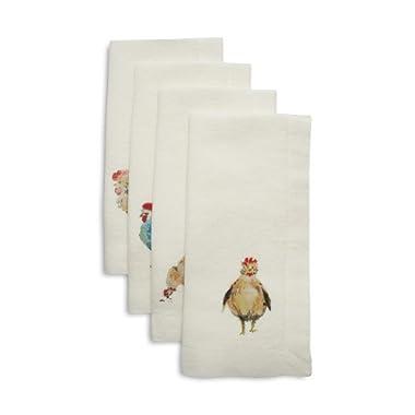 Sur La Table Jacques Pepin Collection Assorted Chickens Linen Napkins M-69391, Set of 4