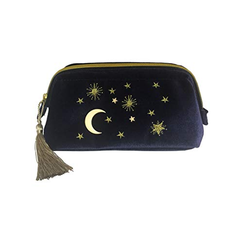 Embroidered Applique Stars Moon Cosmetic Makeup Bag Pouch with Tassels Deco, Beautician Storage Bag Clutch Handbags ()