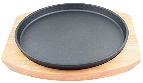 (Round Cast Iron Set W/Rubber Wood Underliner)