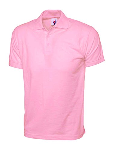 Camiseta de traje de neopreno para mujer Polo de manga corta 100% Plus Premium algodón T-Shirt de tacto suave, tamaño de la funda de 12 permiten el paso de la 26 Rosa