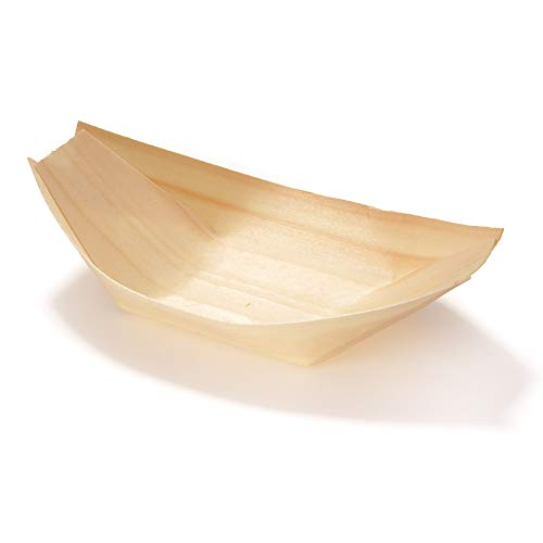 """BambooMN Brand - Disposable Wood Boat Plates/Dishes, 5.25"""" Long x 3"""" Wide x 1"""" High, 100 Pieces"""