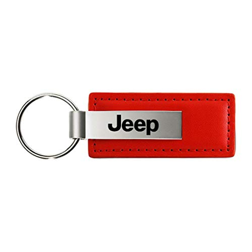 Au-Tomotive Gold, INC. Jeep Name Logo RED Leather Keychain Metal Authentic Key Ring Lanyard - Logo Red Leather