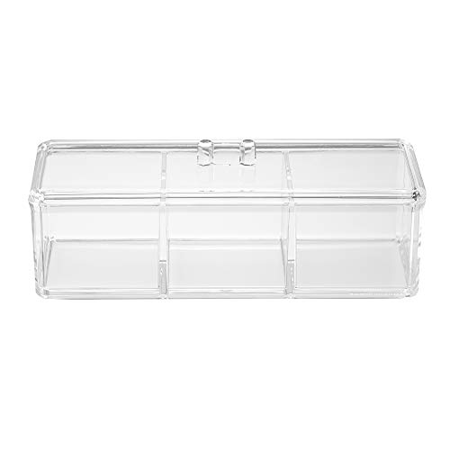- Acrylic Triple Compartment Makeup Organizer: Transparent Multi-Functional Stackable Bathroom and Closet Storage with 3 Trays and Clear Lid for Cosmetics, Cotton Balls or Sponges