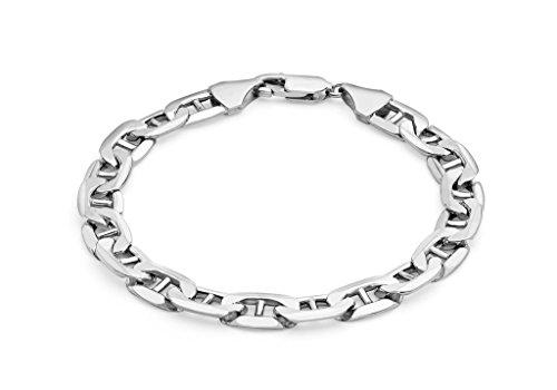 "Or blanc 9carats 200Rambo Bracelet Chaîne 20cm/8"""