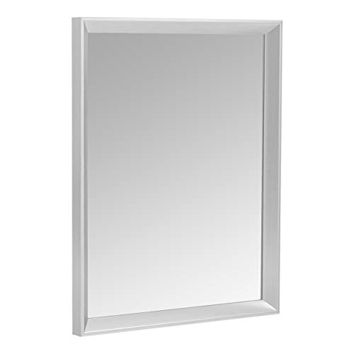 "AmazonBasics Rectangular Wall Mirror 16"" x 20"" - Peaked Trim, Nickel"
