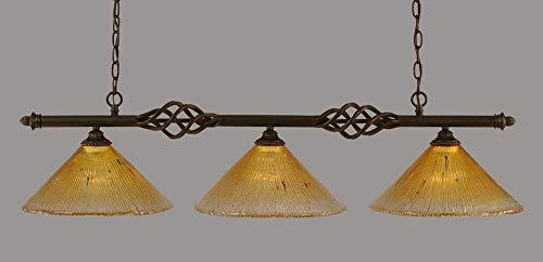 (Toltec Pool Table Lights - Elegante Island Light - Gold Champagne Crystal - 12