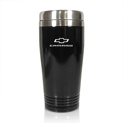 Au-TOMOTIVE GOLD Inc. Stainless Steel Vacuum Travel Mug for Chevrolet Camaro Black - TM150-CMR-BLK