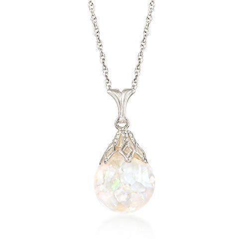 Ross-Simons Floating Opal Pendant Necklace in 14kt White Gold ()