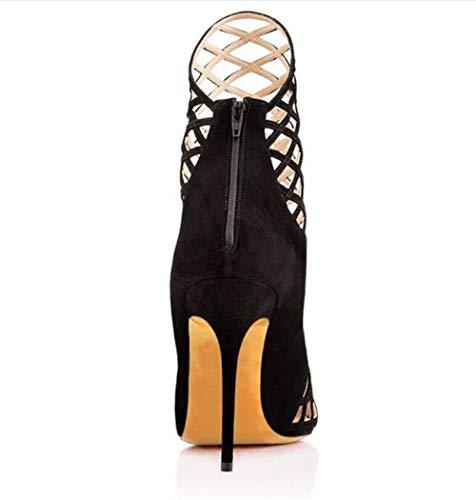 Cheville Creuse Womens Stiletto Chaussures Fête De Modèle Black Habillées Noir Shiney Pointu qIOnx5wBB