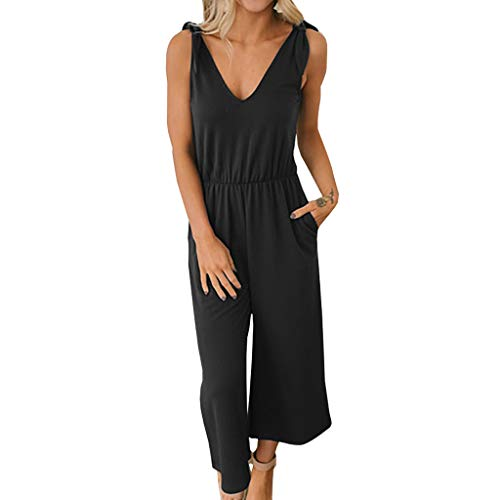 Fheaven Women's Sexy V Neck Sleeveless Shoulder Elastic Waist Wide Foot Jumpsuit Rompers Black