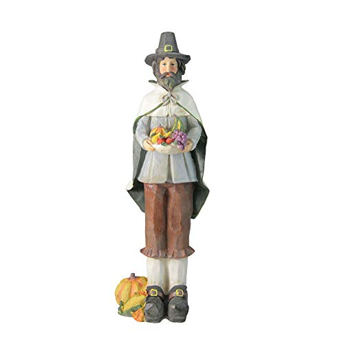 Northlight Autumn Harvest Wood Carved Thanksgiving Pilgrim Man Decorative Figure, 13.75