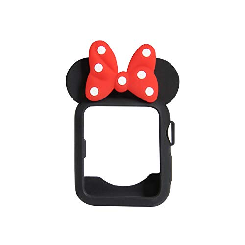 Navor Soft Silicone Protective Case for Cartoon Mouse Ears Compatible for Apple Watch 44mm Series 4 [Black-Red]