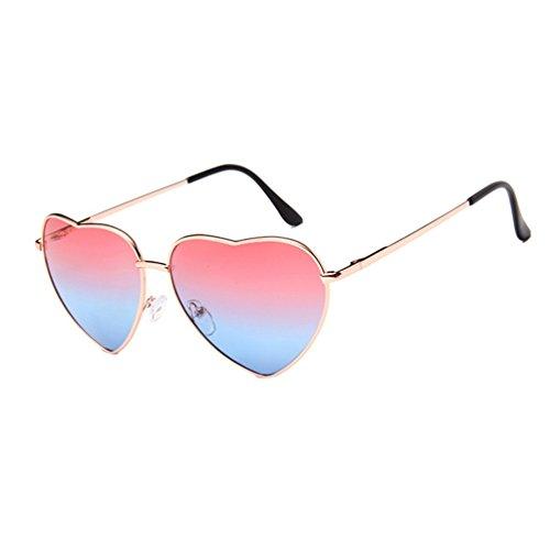 Corazón LINNUO Sol Gafas Aviador Retro Dorado de Colores Mujer Eyewear Metal Marco Hombres Marco de de Forma Azul Rojo Sunglasses SSF7wxq