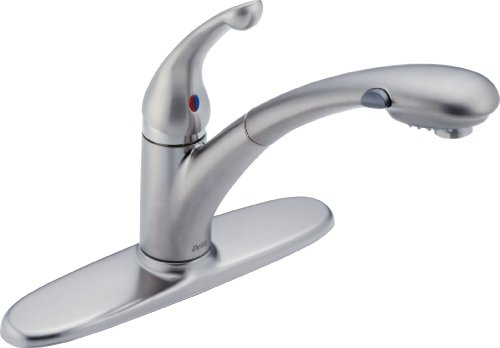 Delta 470-ARWE-DST Signature Single Handle Pull-Out Kitchen Faucet, Arctic Stainless ()