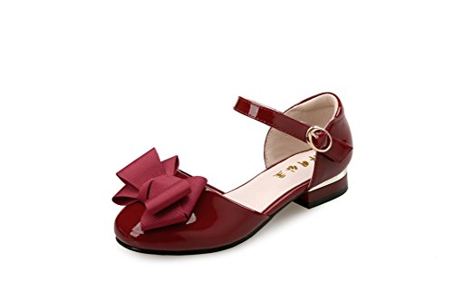 Flyrioc Little Girl's Heel Sandals Ballet Dress Shoes(Little Kid/Big Kid) Burgundy 1 M US Little Kid ()