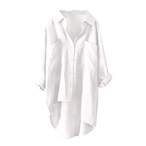 Sunhusing Women's Button-Down Asymmetric High Low Casual Shirt Top Loose Comfy Blouse -