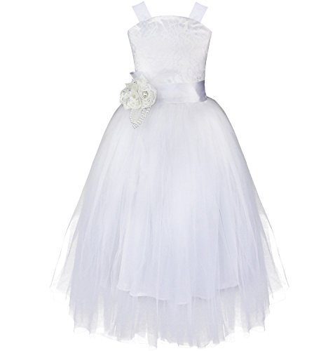 iiniim Girls Kids Crossed Back Bridesmaid Wedding Pageant Party Flower Girl Dress White 14]()
