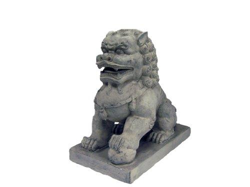 Hi-Line Gift Ltd Foo Dog-Left Paw on Ball Statues, Clay Fibre Tan