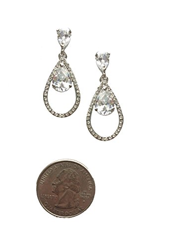 Silver Tone Art Deco Tacoris Style Pear Rhinestone Wedding Bridal Prom Earrings (Rhinestone Escada)
