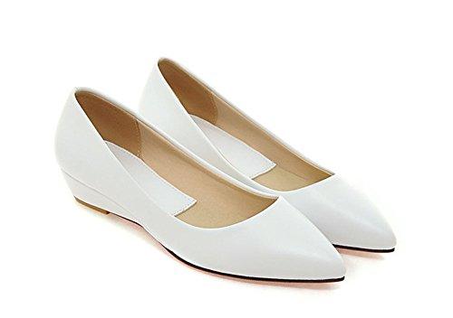 Aisun Womens Casual Comfy Simple Slip On Flats Shoes White zaraUD9A
