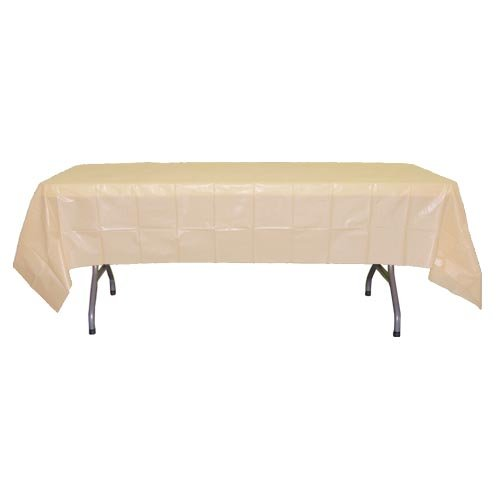 6-Pack Premium Plastic Tablecloth 54in. x 108in. Rectangle Plastic Table cover - Ivory (Plastic Ivory Table Cover)
