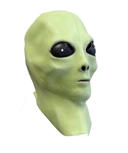 Alien Latex Mask, Glow in the Dark, UFO, Extra Terrestrial, Greys, Space Movies - Ufo Alien Costume