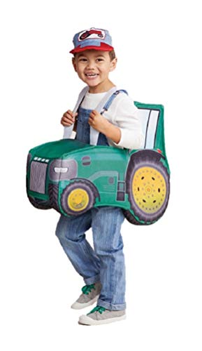 Toddler Ride in Green Tractor Costume w Farmer Hat Cap
