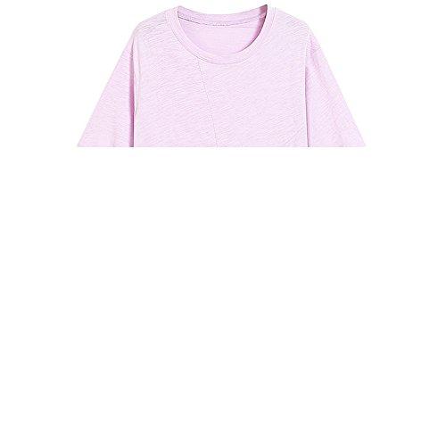 Xmy Plis au couple de rotation irrégulière forme unie manches courtes T-shirt en coton, long et vetements en bambou section sur les femmes dans le code, violet