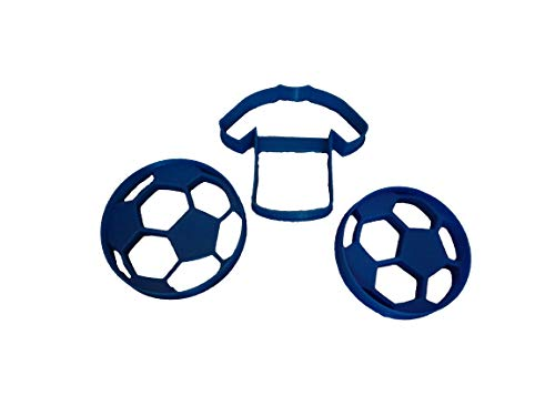 Soccer Balls in Two Sizes and Jersey Cookie Cutters (3 Pack) - Cookie Ball Soccer