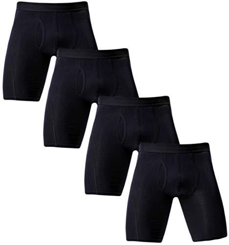 Rusaevon Boxer Briefs Mens Underwear Men Pack of 4 Soft Cotton Open Fly Underwear X-Large ()