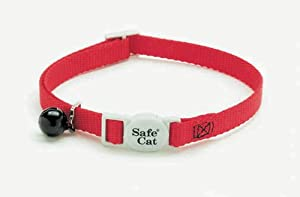Coastal Pet Products CCP7001RED Nylon Safe Cat Adjustable Breakaway Collar with Bells, Red