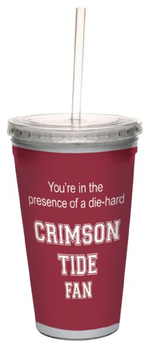- Tree-Free Greetings cc34376 Crimson Tide College Football Fan Artful Traveler Double-Walled Cool Cup with Reusable Straw, 16-Ounce