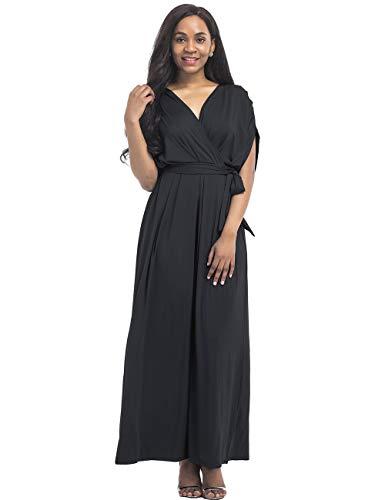 Casual Rela V Belt Women Maxi Plus Bota with Neck Batwing Dress Black Sleeve Size 1x778rIqw