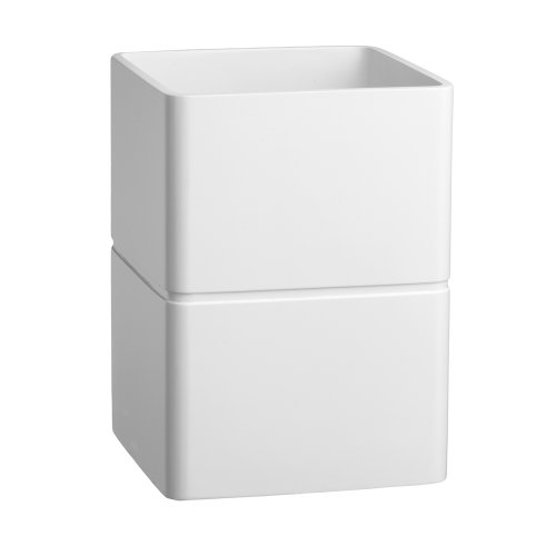 Kraftware Malibu Waste Basket, White, Contemporary Garbage Can For Office, Study, Bathroom, Home Bedroom, MADE IN -