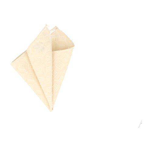 Silk Ties mouchoir de poche carrée motif de diamant de soie Champagne Beige 25 x 25 cm