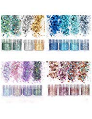 (Unime Body Glitter 16 Colors Chunky Glitter for Body Face Hair Make Up Nail Art Mixed Color Glitter)
